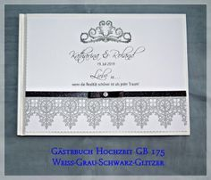 Gästebuch Hochzeit, Ornament, Glitzer GB 175