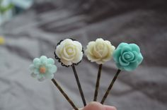 Bobby Pins Hair Pin Resin Flower Flower Cabochons in by 99diystore, $4.99