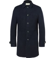 Mr <a href='http://www.mrporter.com/mens/Designers/Oliver_Spencer'>Oliver Spencer</a> describes the items offered by his eponymous brand as 'clothes you can live in, clothes you can do things in', and this navy coat illustrates the point perfectly. Made from warm and durable wool in a slightly boxy, slim-fit shape, it's fully lined in breathable cotton. With a neat collar and buttoned cuffs, it will pair effortlessly with almo...