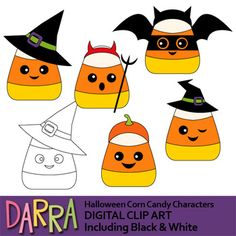 Halloween clip art for making Halloween activities for kids. Halloween corn candy characters clipart. Color plus black and white version. So much fun! It will be fun to use this collection for any school and classroom projects such as for creating bulletin boards, study materials, learning worksheet, activities and games, and for