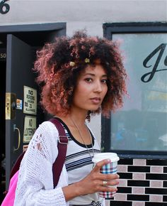 pink hair curly afro, maybe I'll try this when the blonde starts growing out.