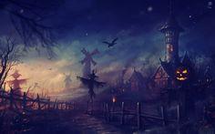 Fondos de pantalla de gran tamaño con un paisaje de Halloween