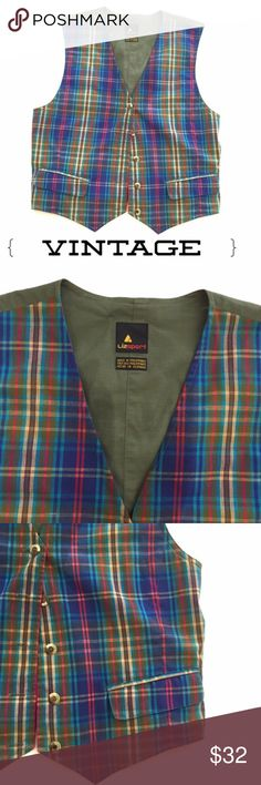 Vintage Liz Sport Plaid Vest Size Small Blue Green Liz Sport vest in excellent condition.  Plaid and solid olive fabric.  Elastic back at the waist.  Two pockets.  Size small Vintage Jackets & Coats Vests