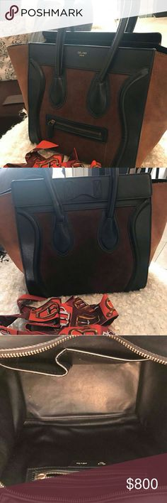 Celine luggage Make offers. Beautiful purse. Handles have been fixed (not by Celine but you can still send them to re fix it if you want it to look perfect). I give the scarfs for the handles though. A piece of hardware missing inside see pictures. Understand the purse is far from being new. Do not buy to later return look pictures closely thanks! Proof of purchase available thought I won't post here for the serial screen shooters who steal other people pictures. Ask for it I will send…