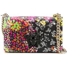 Versace Medusa Floral Print Crossbody Bag ($1,850) ❤ liked on Polyvore featuring bags, handbags, shoulder bags, multicolour, colorful purses, colorful handbags, chain strap purse, floral crossbody purse and floral shoulder bag