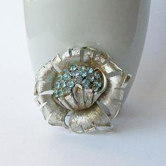 Vintage Rhinestone Blue Flower Brooch Something by VintageSundries