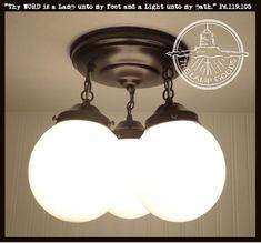 Mid Century Modern Trio of Milk Glass Globes for a striking Flush mount Ceiling Light. Glass Ceiling Lights, Ceiling Light Fixtures, Pendant Light Fixtures, Ceiling Fans, Globe Pendant Light, Pendant Chandelier, Chandelier Lighting, Flush Mount Lighting, Globe Lights