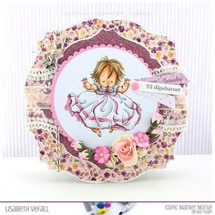 Baby girl christening card – | Lizland | Christening Card, Baby Girl Christening, Wild Orchid, Copic Markers, Digital Stamps, Baby Cards, Different Colors, Orchids, Embellishments
