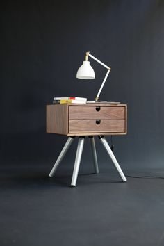 Mid-Century Scandinavian Side Table / Nightstand - Two drawers and retro legs made of solid Walnut