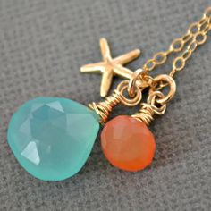 Charm Necklace - Again my fave combination of colors