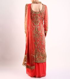 Coral And Maroon #Embroidered #Cotton And #Net #Bridal #Kurta #Set by #Rimple and #Harpreet at #Indianroots Was $590 | Is $413