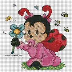 s cross-stich embroidery вышивки дисней, выши Baby Cross Stitch Patterns, Cute Cross Stitch, Cross Stitch Animals, Cross Stitch Charts, Cross Stitching, Cross Stitch Embroidery, Beading Patterns, Pixel Art, Ladybug