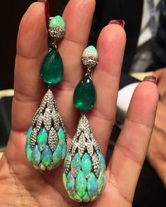 Saboo Opal, Emerald and Diamond Earrings