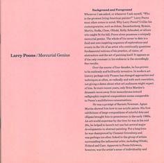 Larry Poons: Mercurial Genius Text by David Ebony. 2002