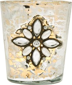 Vintage Mercury Glass Candle Holder (3-Inch, Flower Motif, Silver) - For Use with Tea Lights - For Home Decor, Parties, and Wedding Decorations   Luna Bazaar