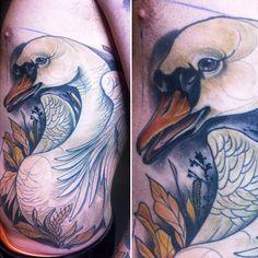 Tiny miss becca ( Swan Tattoo, Swans, Back Tattoo, White Ink, Becca, Tattoo Inspiration, Tatting, Body Art, Tattoo Ideas