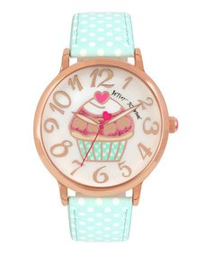 Look what I found on #zulily! Mother-of-Pearl & Mint Cupcake Faux Leather-Strap Watch #zulilyfinds
