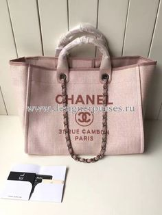 ac3e5bd0be99 Chanel A66942 Large Toile Deauville Shopping Bag in Poudre Pink