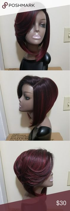 Gorgeous Burgundy Bob ***PLEASE READ LISTING CAREFULLY *** Absolutely stunning natural looking synthetic lace front Bob style Wig. Worn once. Natural parting space. Lace already cut. Just put on and go. Color 1b /burgundy. Heat safe up to 400 degrees however I recommend you use the lowest setting possible. Comes from a pet free and smoke free home. Please ask questions before purchasing. Thank you. Accessories Hair Accessories