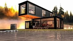 using 2 unit shipping container (40'x8'x9.5') and a unit shipping container (20'x8'x9.5') software : archicad 19 rendering cinerender maxon