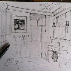 """71 Beğenme, 14 Yorum - Instagram'da interior designer (@pe2_magdalena_sobula): """"Szkic do wizualizacji…"""""""