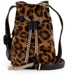 Halston Heritage Leopard-Print Bucket Bag, Black Multi