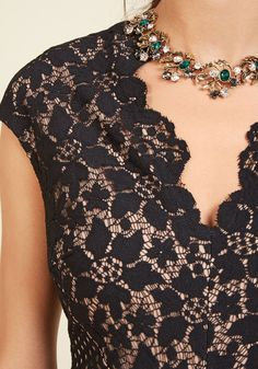 Motif Magnificence Lace Dress. Flowers, diamonds, and scallops - oh my! #black #modcloth