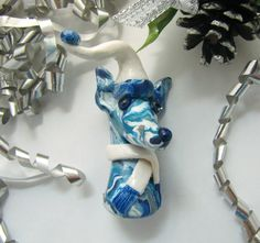 Greyhound Galgo Whippet Elf Christmas Ornament Decoration Blue and White by GreyhoundCleyhounds on Etsy