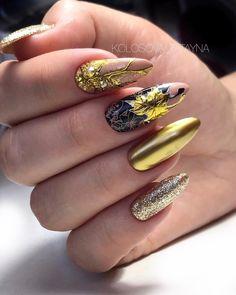 Golden Nails, 3d Nails, Hair And Nails, Manicure, Hair Makeup, Nail Designs, Make Up, Nail Art, Fall Nails