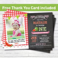 Watermelon 1st first birthday invitation. Summer watermelon birthday party invite. Red green chalkboard. Printable photo card invite. PA014 on Etsy, $11.99