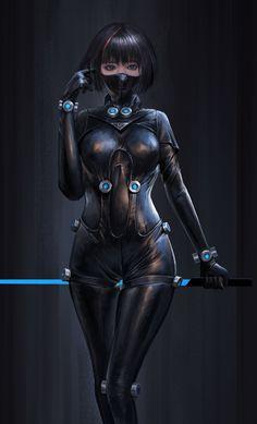 f Rogue Assassin Leather Armor Sword Mask Underdark undercity urban City ArtStation 19 Yang Hong Fantasy Girl, Dark Fantasy, Fantasy Women, Anime Fantasy, Cyberpunk Girl, Arte Cyberpunk, Cyberpunk Anime, Female Character Design, Character Art