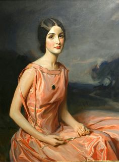 """oldpaintings: """" A Portrait of a Young Lady in Pink by Tadeusz Tadé Styka (Polish-born French, 1889–1954) """""""