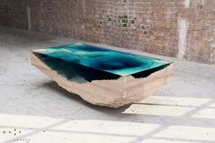 duffy london layers the abyss table to look like ocean depths. duffy london layers the abyss table to look like ocean depths all images courtesy of duffy london Creative Coffee, Unique Coffee Table, Coffee Table Design, Coffee Tables, Design Table, Glass Table, A Table, Swing Table, Cool Furniture