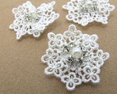 2 Pieces 2 Inches Beaded Lace Applique|Scrapbooking Embellishment|Ruffled Flower|Hair Supplies|Decorative Flower