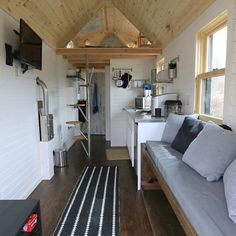 Where tiny houses lack in space, they make up for in efficiency! In only 150 square feet, this tiny home has a full kitchen, lofted bedroom, plasma screen TV, cozy seating area and plenty of storage. Explore tiny house living on FYI's #TinyHouseNation.