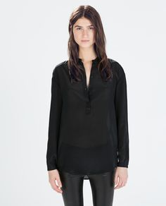 MAO COLLAR SILK BLOUSE from Zara