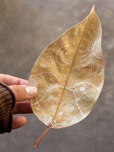 Draw on a dried leaf