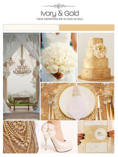 Ivory and gold wedding inspiration boards. Ideas in gold for the wedding cake, cutlery and decor. ivory for the pearls, dress, flowers, chandelier, shoes & curtains