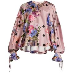 Natasha Zinko Floral-print satin bouse (2.430 RON) ❤ liked on Polyvore featuring tops, blouses, pink multi, polka dot blouse, loose fitting tops, loose tops, embellished tops and satin top