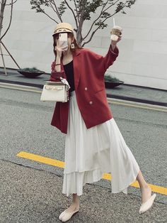 Retro Red Casual Ladies Blazer Stylish Long Sleeve Loose Suit Jacket Blazzer Mujer Korean Spring Autumn Women Blazer New 4000812890763 6537 Women Blazer, Blazers For Women, Teen Fashion, Korean Fashion, Womens Fashion, Long Jackets, Daily Look, Personal Style, Suit Jacket