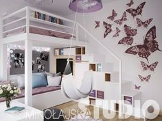 Purple girl room with loft bed and wall deco in butterfly stickers Source by amelonn Small Room Bedroom, Bedroom Loft, Teen Bedroom, Dream Bedroom, Bedroom Decor, Bedrooms, Kids Wall Decor, Room Wallpaper, Wallpaper Stickers