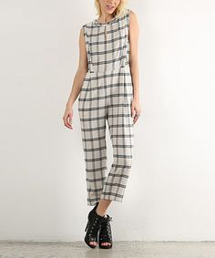 Look what I found on #zulily! Navy & Natural Plaid Keyhole Jumpsuit #zulilyfinds