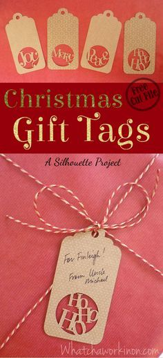 free silhouette cut file for four christmas gift tags plus a template to customize your owngreat tip for how to prevent cardstock from curling when you - What Day Does Christmas Fall On