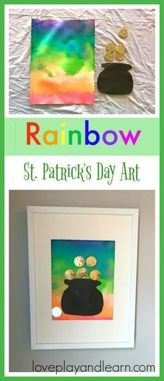 Beautiful Rainbow Craft that would make a great St. Patrick's Day Craft Art Activity for Kids. Great for Toddlers and Preschoolers. Patricks day crafts for kids St. Patrick's Day Craft for Kids. St Patrick Day Activities, Art Activities For Kids, Art For Kids, Art For Toddlers, Art Activities For Toddlers, Saint Patricks Day Art, St Patricks Day Crafts For Kids, March Crafts, St Patrick's Day Crafts