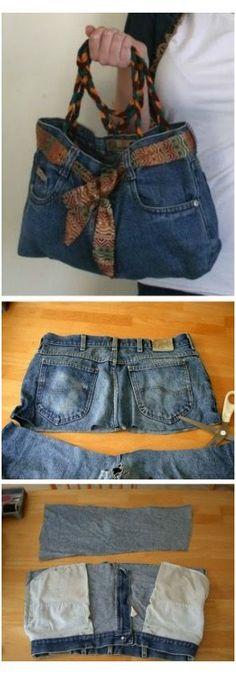Diy Jeans, Sewing Jeans, Jeans Denim, Denim Bag, Sewing Clothes, Diy Clothes, Blue Jeans, Sewing Patterns Free, Free Sewing