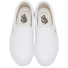 Vans White OG Classic LX Slip-On Sneakers ($32) ❤ liked on Polyvore featuring shoes, sneakers, vans, slip-on sneakers, leather sneakers, round toe sneakers, vans shoes and vans trainers