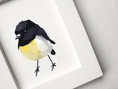 Tomtit / Miromiro, Geometric bird print, Original art
