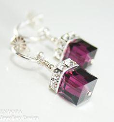 Fuschia pink earringsSwarovski cube by EndoraJewellery on Etsy, $26.00