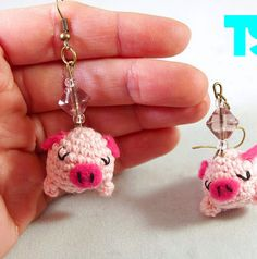 Amigurumi pig earrings in pink color  MADE by thesunandtheturtle, $25.00