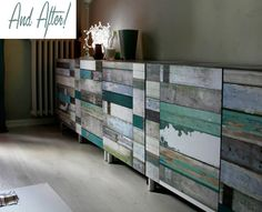 With the help from a little wallpaper, these cabinets now look like a large reclaimed wooden sideboard